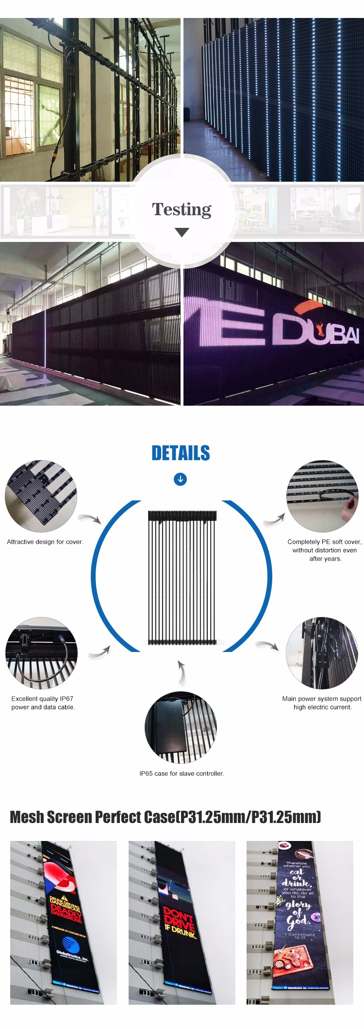 Led Mesh Soccer Transparent Led Curtain Display