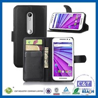 C&T Flip Wallet Pu Leather Case Hard Cover with Stand Card Holder for Motorola Moto G (3rd Generation) Case
