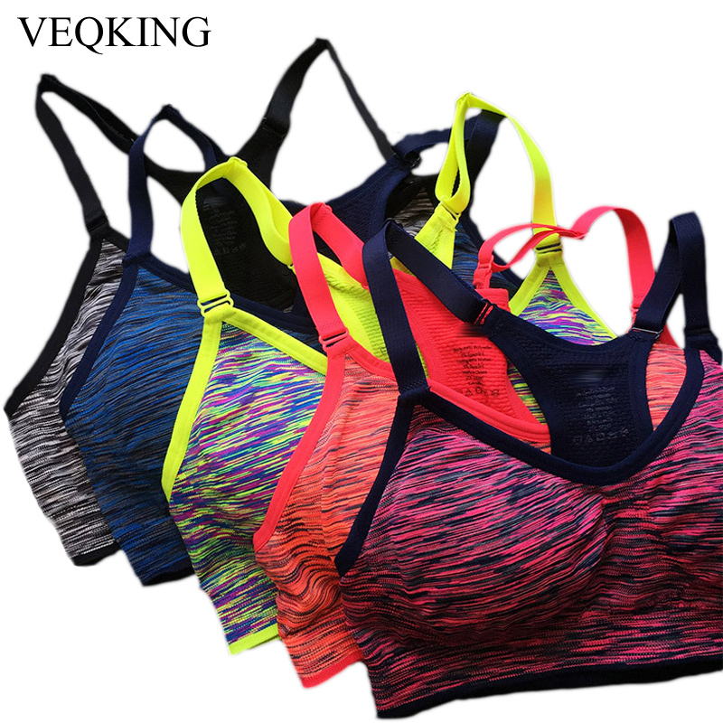 Quick Dry Sports Bra Women Padded Wirefree Adjustable Shakeproof Fitness Underwear Push Up Seamless Yoga Running Tops