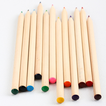 round natural wooden pencil, colored lead and round top