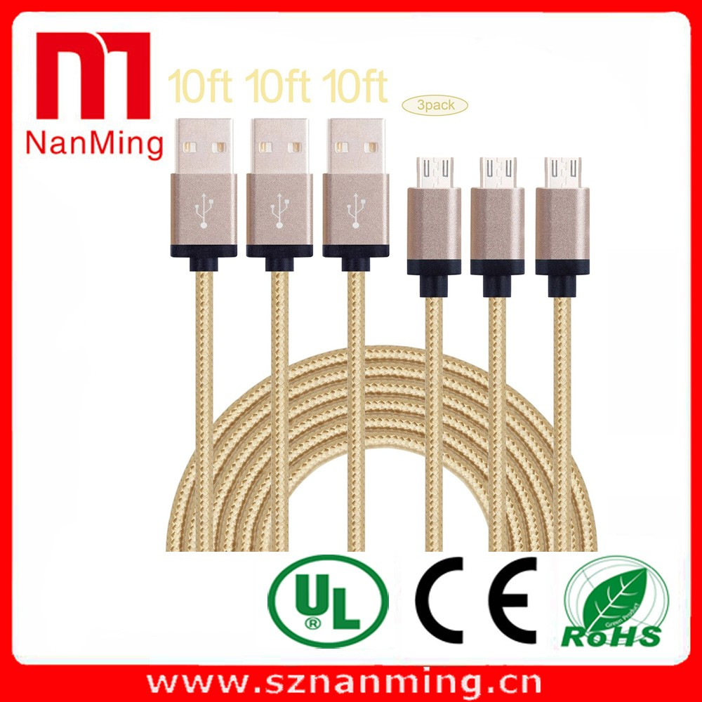 Nylon braided micro usb 5 pin male data cable