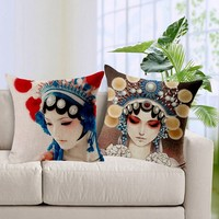 Female Role In Chinese Opera Printed Cushion Covers Home decor China Style decorative pillows and cushions