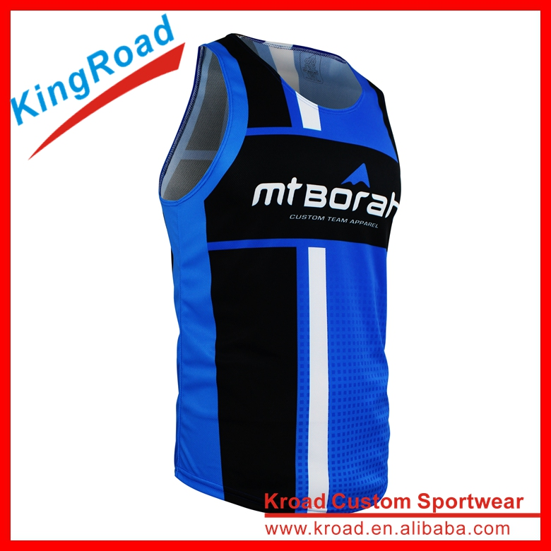 Custom made men's running tops wholesale running apparel anti-bacterial running vest
