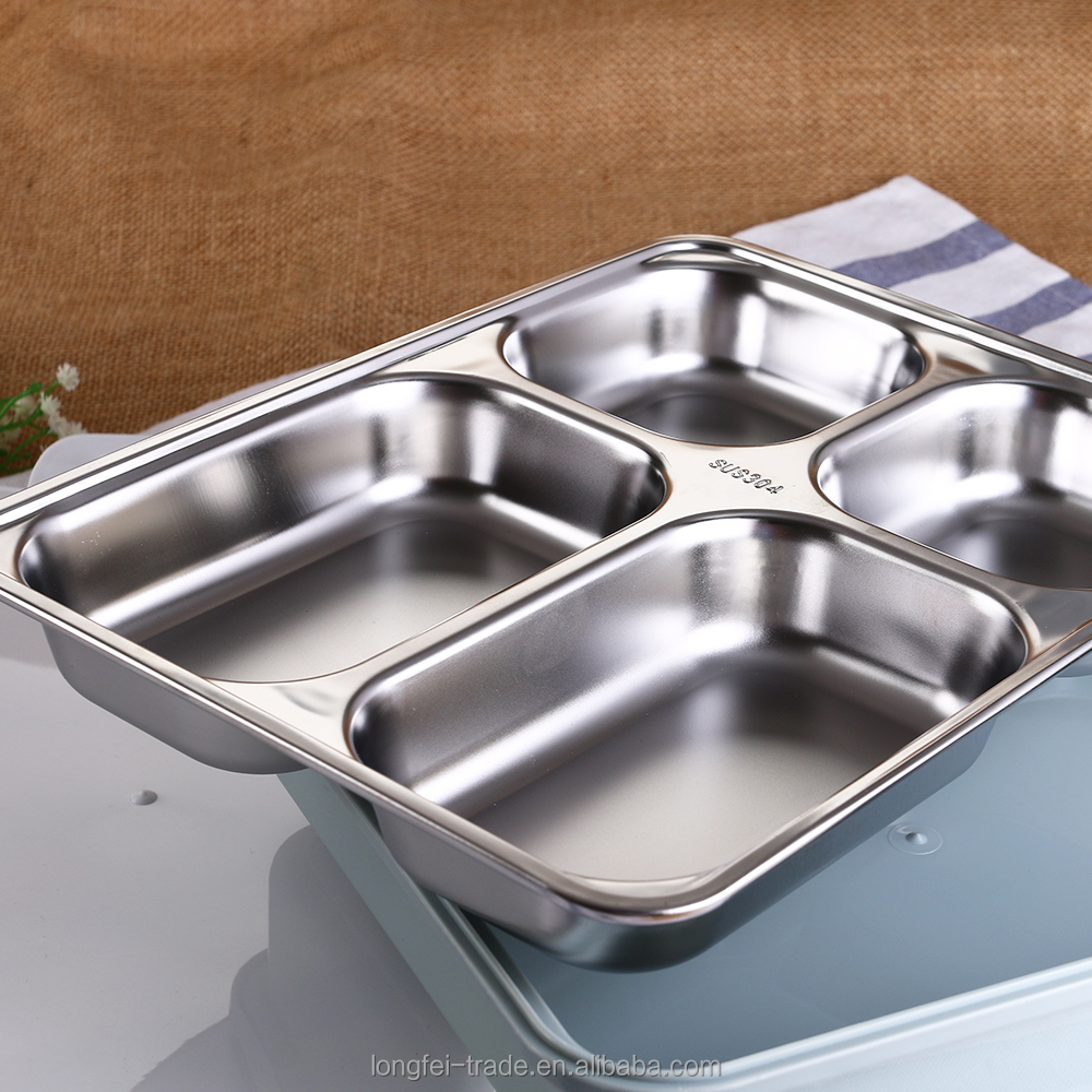 Hot sale stainless steel school deep lunch tray / 4 compartments food tray with cover
