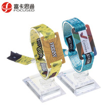 HF ntag213 chip RFID woven bracelet qr code nfc wristband disposable