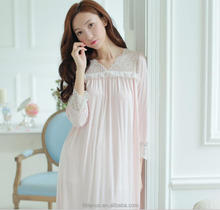 ND0009A 2017 low price latest women long nightgown royal princess lace V-neck sleepwear/lingerie intimates/underwear chiffon
