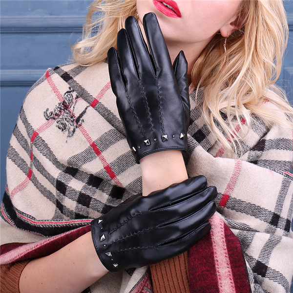 2017 best winter fashion dress black women leather gloves with nail