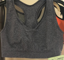 Heathered striped seamless racerback sports bra with padded foam cups