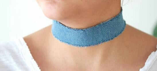 1cm Light Blue Denim Jeans Choker Cheap Denim Choker