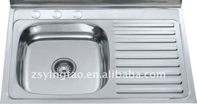 Bestselling single bowl with drain board kitchen sink-YTS8050B/L