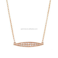 Gold Diamond Marquise Bar Necklace