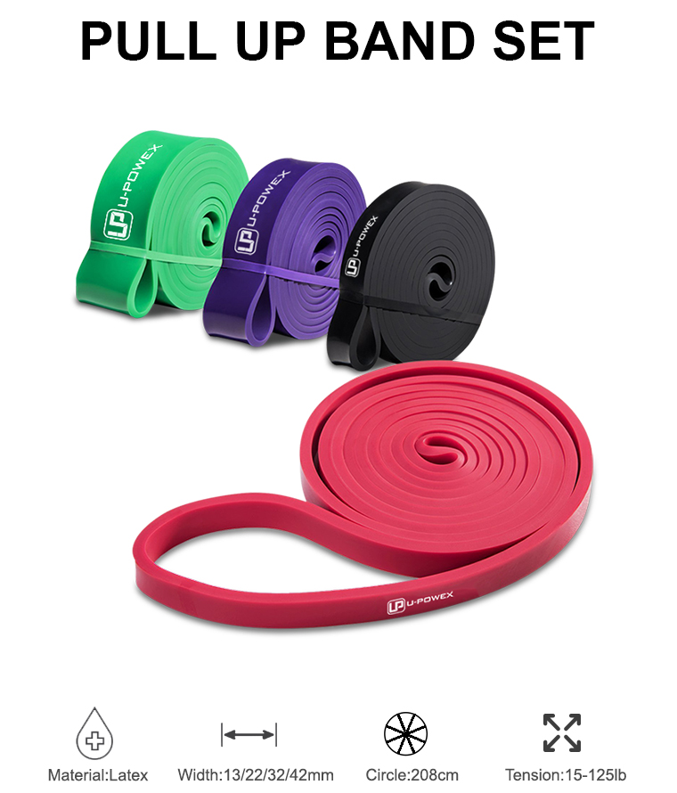 U-POWEX 4 pack Yoga Übung pull up assist Stretch elasticCircle Schwere Latex fitness Widerstand Bands set