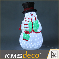 Outdoor decoration 3d led light christmas snowman with scarf