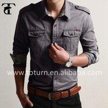 Favorable price full sleeve men shirt cargo grey designer shirt for men