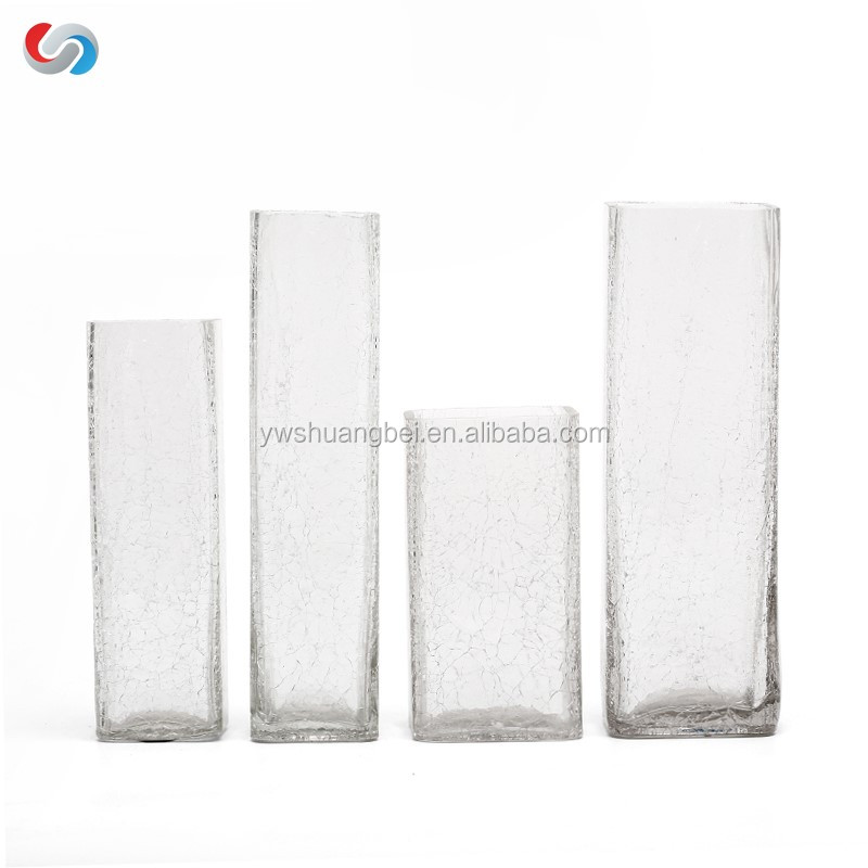 Crack shape flower vase four type glass vase for home decoration with color box