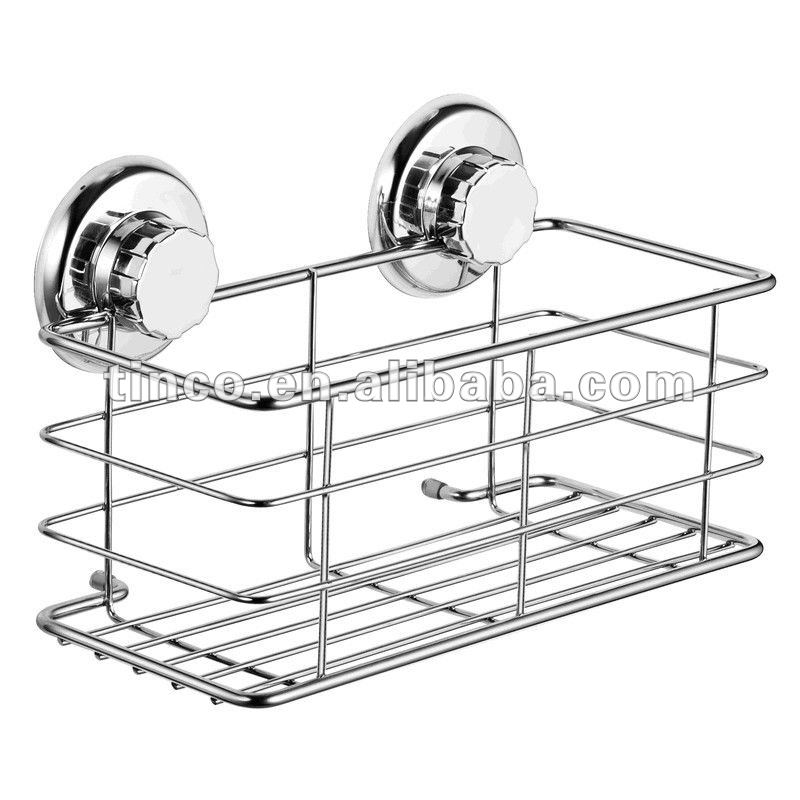 Bathroom Chrome Stainless Steel Suction Shower Caddy