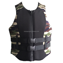 Wholesale professional neoprene printing Camouflage custom neoprene portable life jacket fishing life jacket Rafting vest