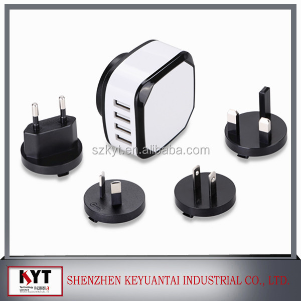 New Phone Accessories CE ROHS 4 USB Wall Charger with UK EU US AU KR Changeable Plugs