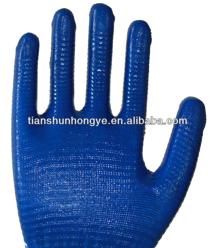 13 gauge polyester shell nitrile dipped work gloves for sale