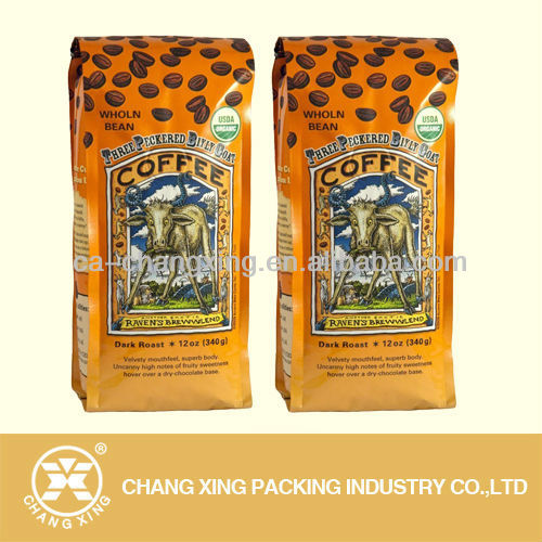 aluminum blocked bottom side gusset coffee bag with custom printing(22 year manufacturer)