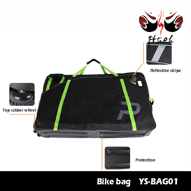 Bike transport carry bag with bottom wheels