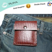 Luxurious retro snap closure animal shape crocodile skin slim leather pocket coin purse with folded money clip