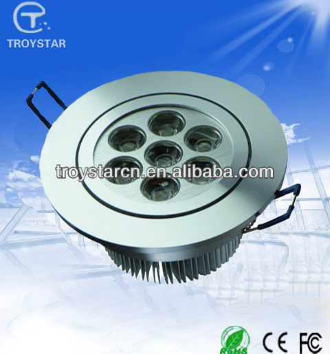 3 Year Warranty CE ROHS 110lm/w Round Silvery High power 7w Led Ceiling Lighting