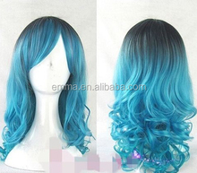 fashion cosplay lolita wig women full long curly wavy blue mix hair wigs W2064