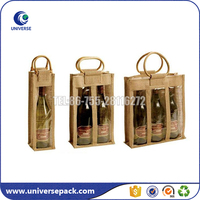 Promotional jute wine tote bag with bamboo handle wholesale