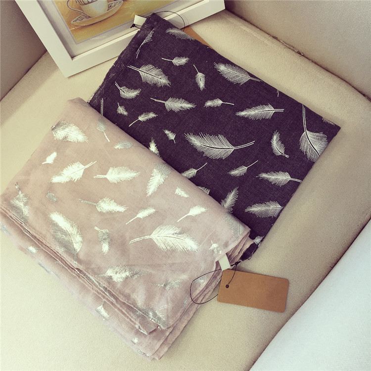 2017 autumn winter fashion long soft feather printed cotton loops scarf