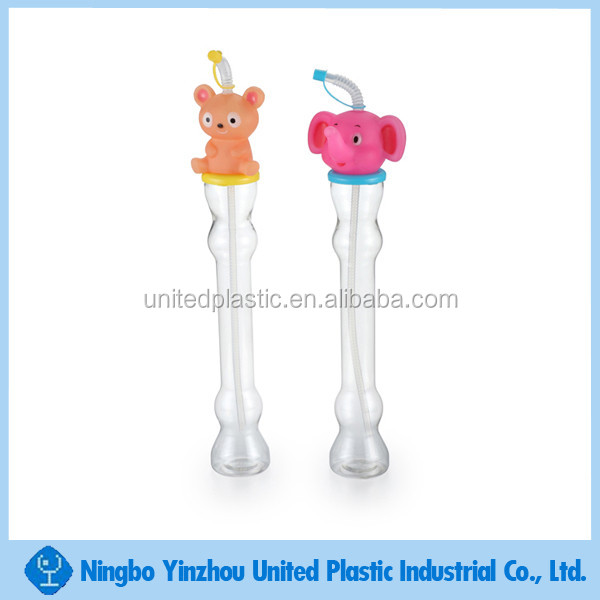 500ml Plastic yard glass with 3D animal head and straw