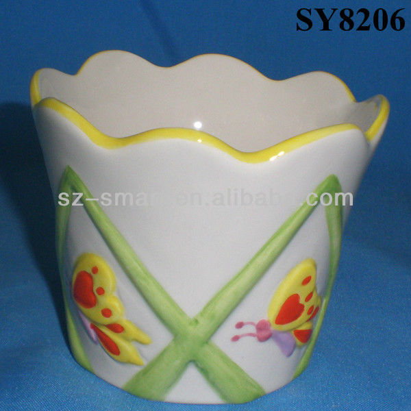 Hand painting butterfly colorful embossment ceramic planter pot