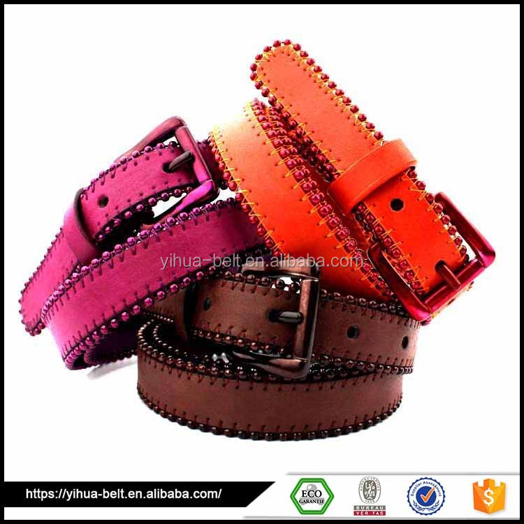 Multicolor pearl Decorative beaded ladies' fashion leather belts