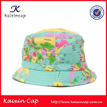 oem high quality digital printed world map pattern bucket hat