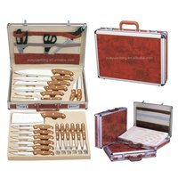 Swiss 24pcs stainelss steel wood handle kitchen knife set in aluminum suitcase
