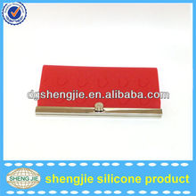 Cheapest price red silicone wallets / lady purse