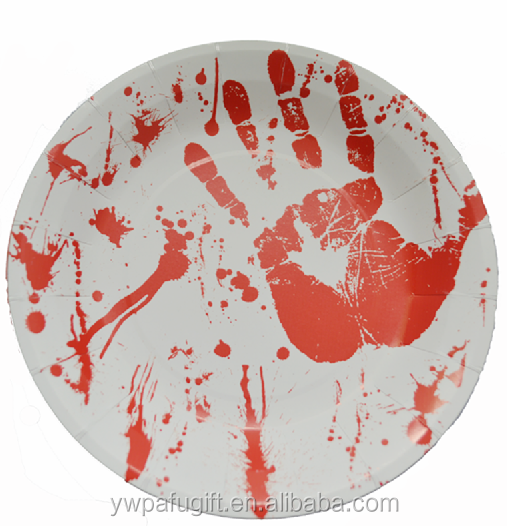 halloween party supplies bloody hand paper plate