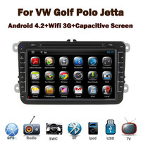 Pure Car DVD Android 4.2 for VW Golf Jetta Polo Tiguan Touran Bora with Capacitive Touch screen GPS Bluetooth Radio RDS USB IPOD