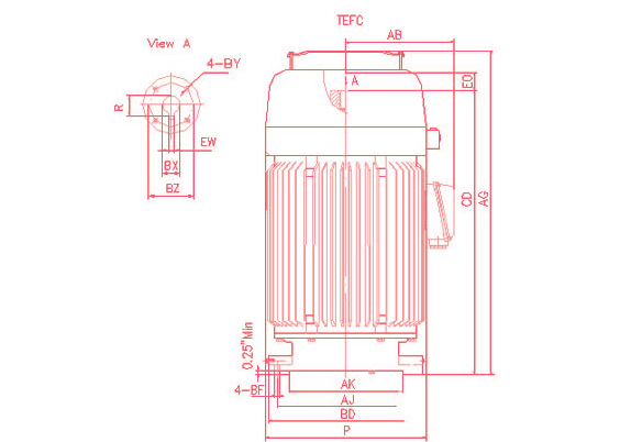 Vertical Hollow Shaft Type 3 Phase Ac Induction Motor