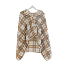 Office and home using high fashion warm soft-touching tippet checker airplane blanket flannel thick plaid cappa shawl