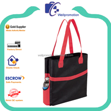 Poly zipper tote bag with water bottle pocket