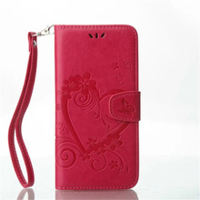 High quality embossing heart PU leather flip card slot design mobile phone case for iphone 5 5s SE cover with hand strap