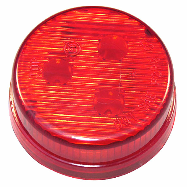 "Sealed, 2"" Round Trailer Clearance and Side Marker Light, Flush Mount - Red"