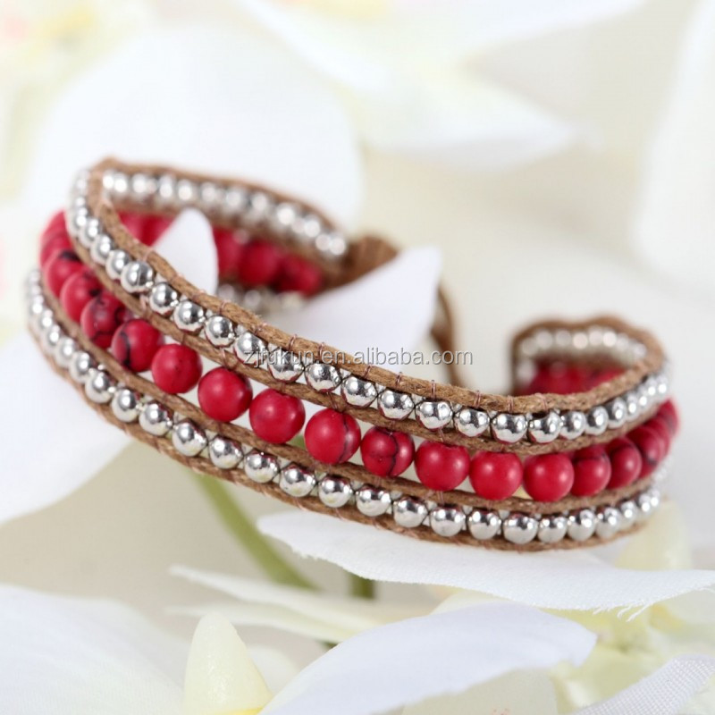 2017 hot sale handmade red turquoise beads single wrap bracelet