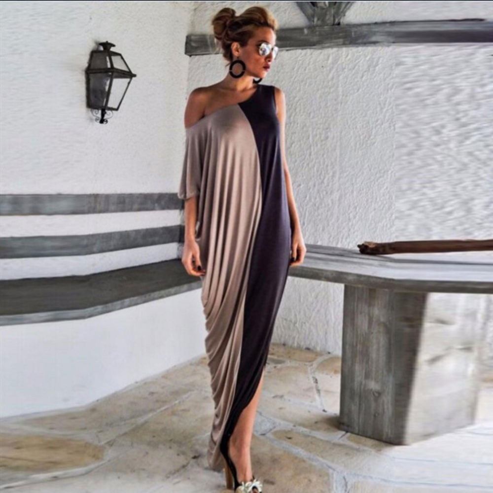 2016 Women Clothes Half Sleeve Off Shoulder Loose Casual Beach Vestido Irregular Sexy Long Maxi Dress Plus Size