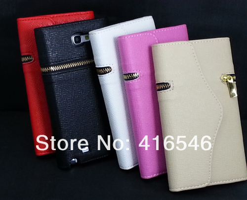 New Zipper Wallet PU Leather Case for Samsung Galaxy Note 2 II N7100