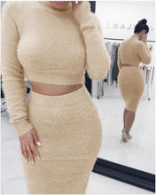 B31485A Latest women long sleeve two piece wholesale bodycon dresses