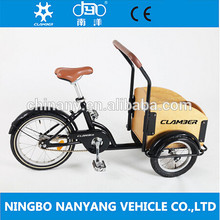 new design16 inch steel kids cargo trike for children with wooden box in the front