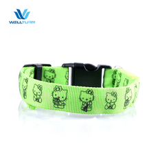 2017 nylon flashing safety pet collars led dog collar light for sale