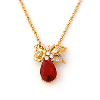 41389-xuping new arrival fashion lovely CZ stone long ruby necklace with diamonds 18k gold color